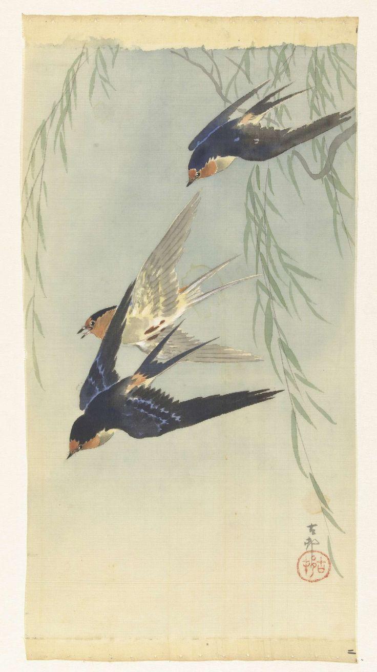 Drie vogels in volle vlucht, Ohara Koson