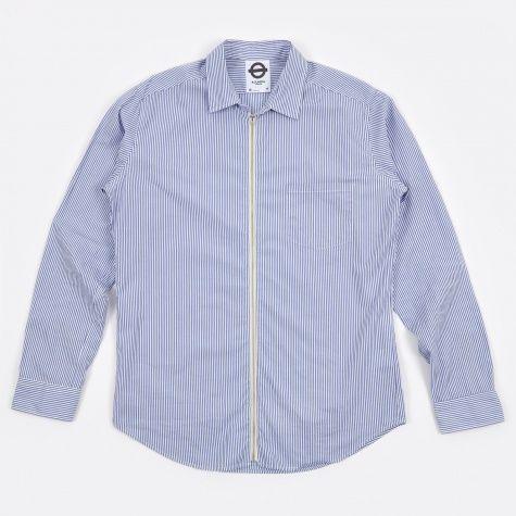 Stripe Zipped LS Shirt - Seaside Blue