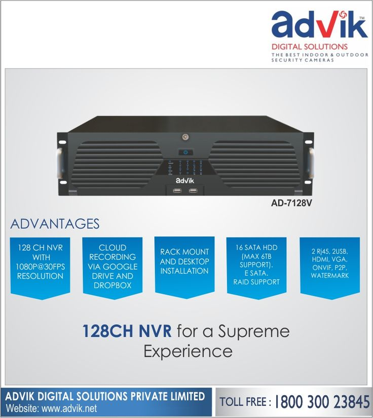 128 CH #NVR for a Supreme Experience!!! Loaded with unbeatable features, this Advik 128CH NVR delivers a supreme experience. It has E-SATA, Raid support and 16 SATA HDD to ensure you get an unparalleled user experience. This is one new age recorder with 1080 pixel clarity and upto 6TB support to allow for sufficient storage for the surveillance footage and recordings. You can enjoy ease of accessibility by using the cloud recording option via Google Drive and Dropbox. Other key features…