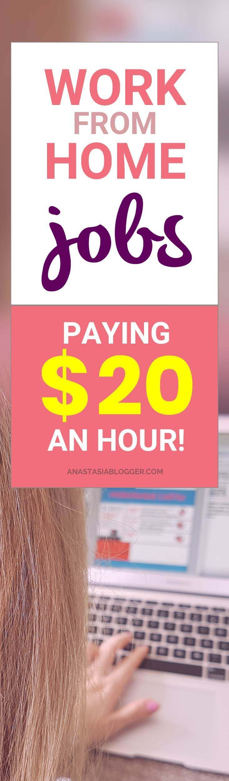 Work from home jobs are flexible and good to make some extra cash. Check the list of legit companies paying $20 an hour or more! WAH jobs for stay at home moms in transcription, translations, editing, proofreading, medical coders, online tutors, phone customer support and others! #workfromhome #workathome #wahm