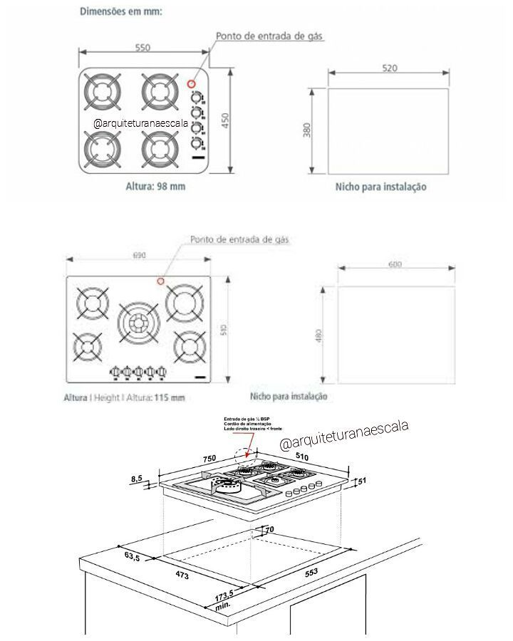 Dimensoes Media Para Fogoes Cooktop De 4 E 5 Bocas As Medidas