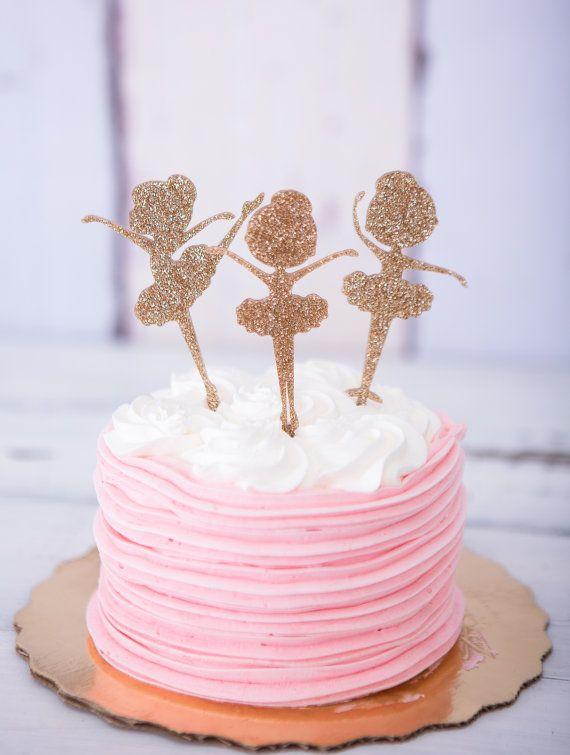Ballerina Cake Topper for Birthday Glitter Girls' by ZCreateDesign