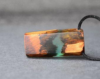 Joyería de híbrido, la resina de madera colgante, hermana de regalo, madera y joyería de la resina, colgante de la resina de minimalista, naturaleza boho collar, regalo económico