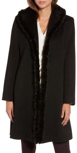 Fleurette Women's Loro Piana Wool Wing Collar Coat With Genuine Mink Trim