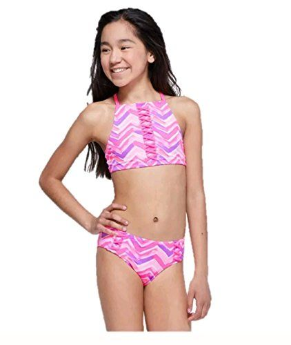 116bca49ade Justice Girls Bathing Suit Bikini Chevron Lace-up High Neck Swimsuit 8-20