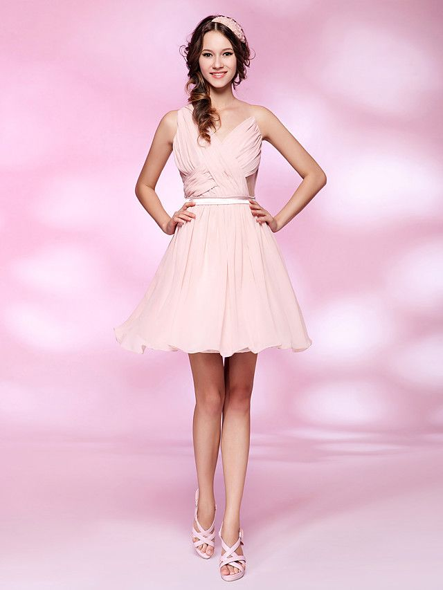 Cocktail Party / Homecoming / Sweet 16 Dress - Pearl Pink Plus Sizes / Petite A-line / Princess V-neck Short/Mini Chiffon / Tulle - USD $ 89.99