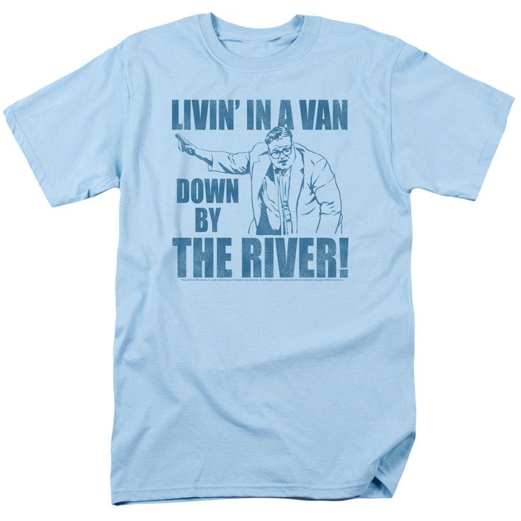 The Saturday Night Live - Livin In A Van Adult T-Shirt is officially licensed, made of 100% pre-shrunk cotton and available in light blue. Whether you're a Saturday Night Live Super fan or just lookin