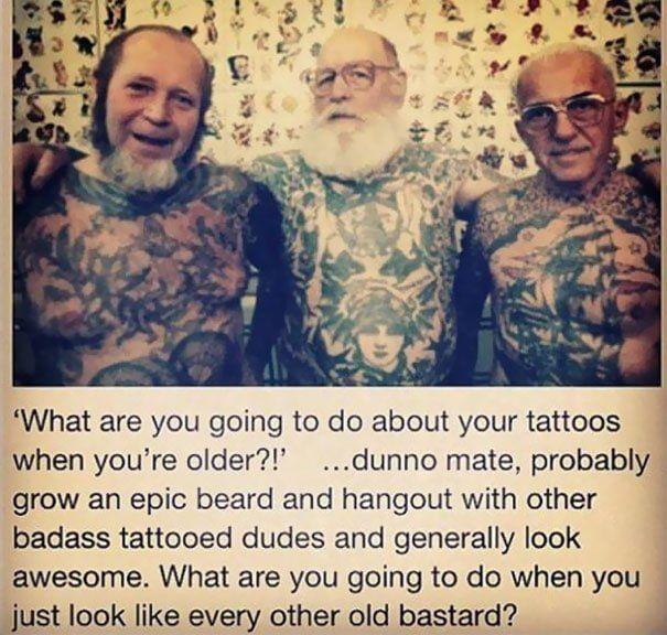 Tatouages personnes âgées, style et mode