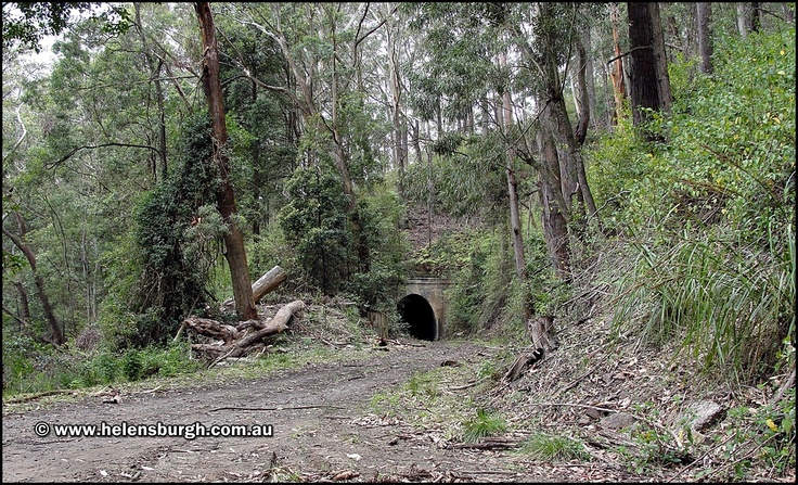 Lilyvale Tunnel No. 1 (Tunnel No. 5).  Northern portal and old rail alignment.  More information: http://www.helensburgh.com.au/lilyvale-railway-tunnels/