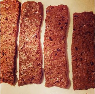 Homemade Quest Protein Bars:  4 scoops Garden of Life RAW Protein Powder in chocolate 1/4 cup ground flax seed (or oat flour or fiber powder) 1/4 cup Once Again Organic Sugar and Salt Free Sunflower Butter (or nut butter of your choice) 1/2 cup local organic honey (or agave nectar or stevia) medium-sized handful of cacao nibs A few tbsp of water - depending on sweetener of choice