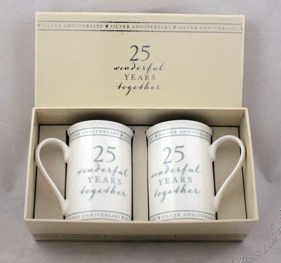 25th Anniversary Gift Set of 2 China Mugs 25 Wonderful Years, £11.95