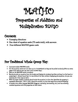 This game can be used to review content dealing with the properties of multiplication and division:  the identity property of addition, the identity property of multiplication, the distributive property of multiplication and addition, the distributive property of multiplication and subtraction, the commutative property of addition, the commutative property of multiplication, the associative property of addition, and the associative property of multiplication.Purchase includes 72 game cards,