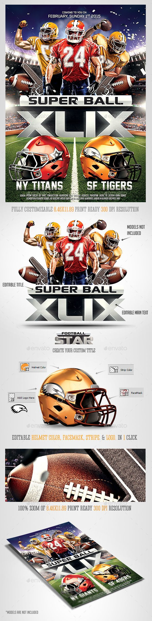 Super Ball Football Party Flyer Template | Party flyer