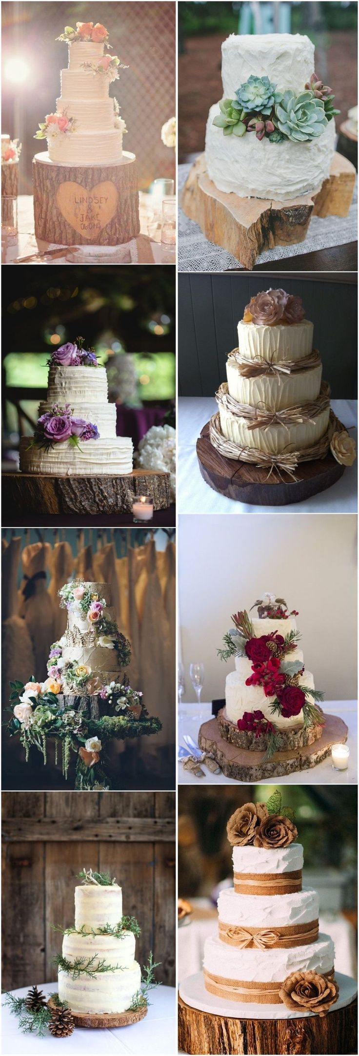 Country Weddings » 20 Rustic Tree Stumps Wedding Cakes for Your Country Wedding » ❤️ See more: http://www.weddinginclude.com/2017/06/rustic-tree-stumps-wedding-cakes-for-your-country-wedding/ #rusticweddingcakes #weddingcakes #countryweddingcakes