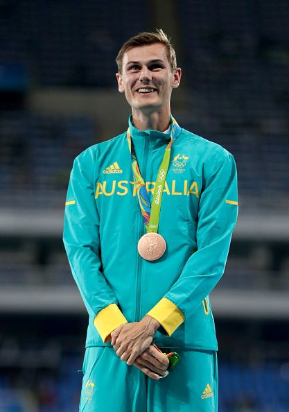 #RIO2016 Dane Bird-Smith of Australia poses with the bronze medal for the Men's 20km Race Walk on Day 7 of the Rio 2016 Olympic Games at the Olympic Stadium on...