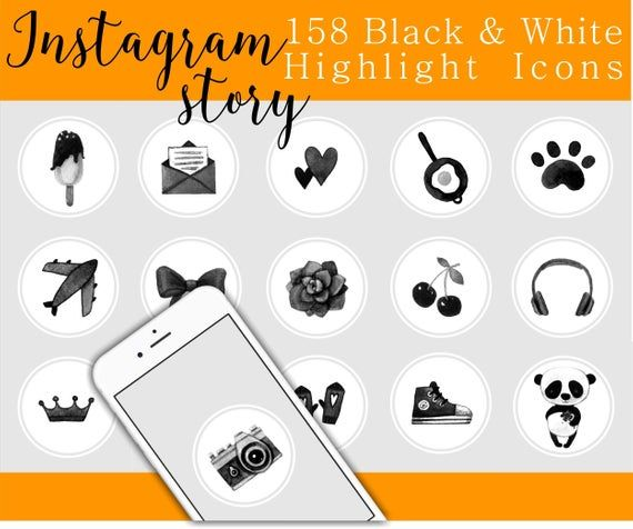 158 Black and White Instagram story highlights Watercolor, instagram highlight icons, instagram story covers, watercolor icons for instagram