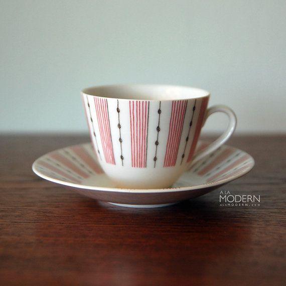 Rorstrand Sweden Casino Red Cup And Saucer by alamodern on Etsy,