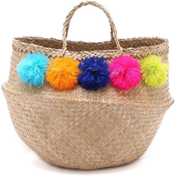 On trend style...Pom Pom straw bag #pompoms #strawbag #totes #summerstyle #handbags