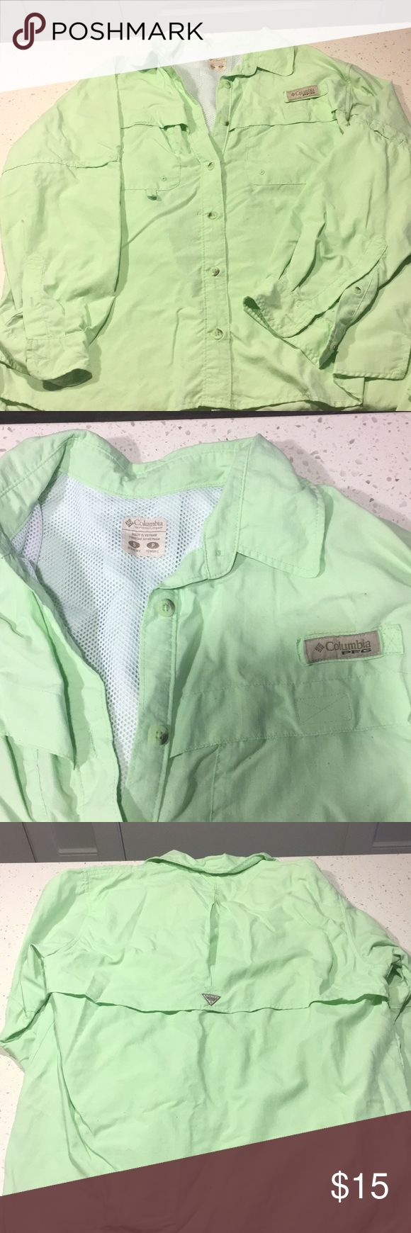 Columbia PFG women's shirt Light lime green women's PFG shirt. Size small. Lightly worn Columbia Tops Button Down Shirts
