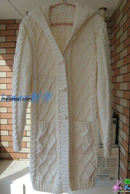 пальто спицами с капюшоном