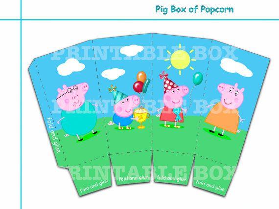 Funny Pig box of popcorn Party decoration  Printable box