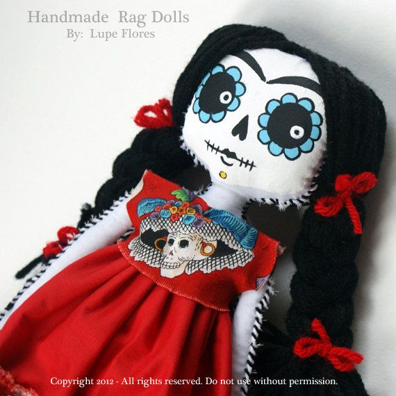 Frida Kahlo Day of the Dead Sugar Skull rag by Art By Lupe Flores, $45.00