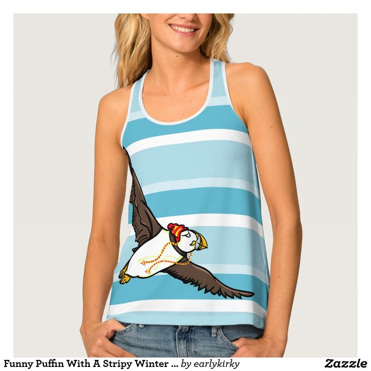 Funny Puffin With A Stripy Winter Hat On Tank Top