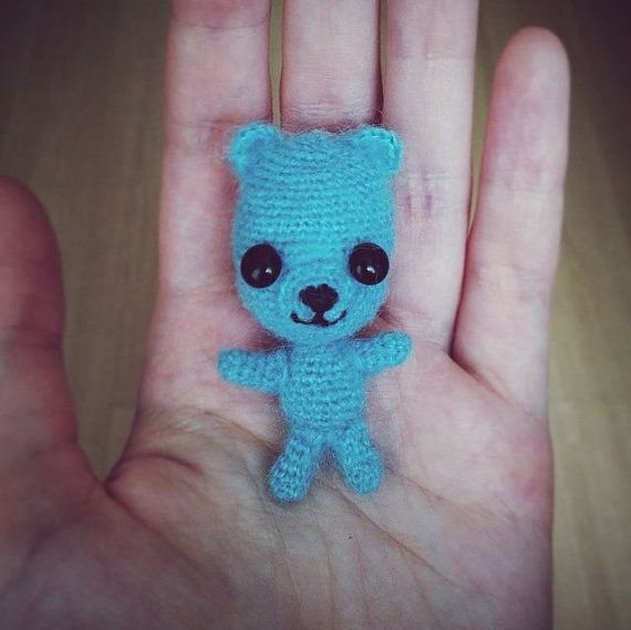 Tiny Blue Teddy Bear Christopher #amigurumi #crochet от Khanolainen на Etsy