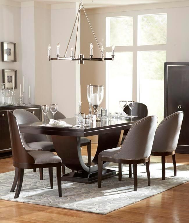 Pinstripe Contemporary Seven Piece Slipper Chair And Pedestal Table Set By Broyhill Designed GlucksteinHome At Baers Furniture