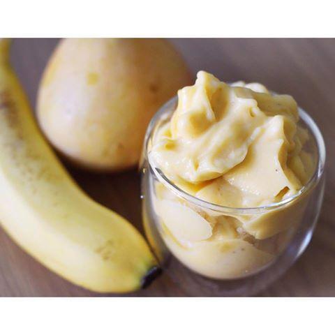 Banana and Mango 2-minute 'icecream' - #paleo #dairyfree #noaddedsugar