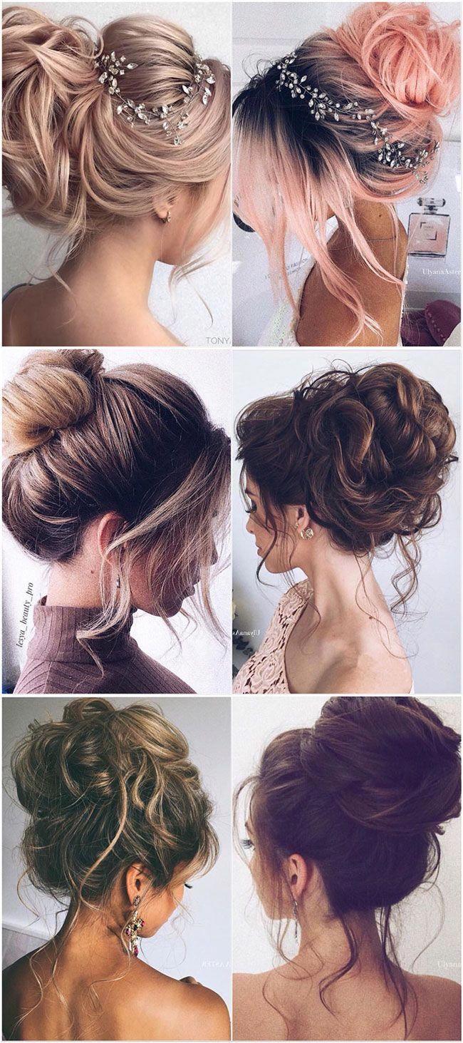 The Prettiest Wedding Hairstyles Messy Updo Easy Bridal Hairstyles Updo For Long Hair Weddings High Updo Long Hair Updo Hair Styles Medium Length Hair Styles