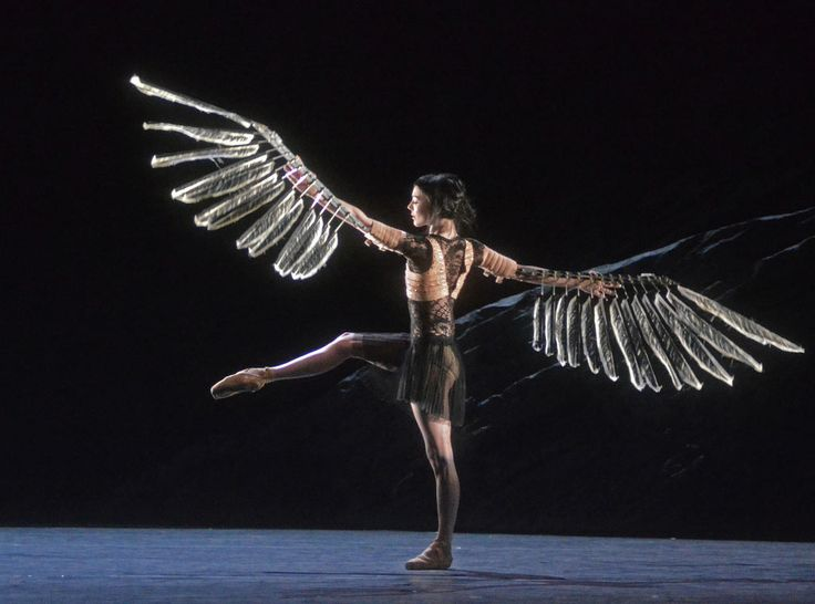 """Sarah Lamb in Raven Girl. Royal Ballet, May 2013. © Dave Morgan, courtesy the Royal Opera House. """"Now we have their daughter, the Raven Girl (Sarah Lamb) — not quite woman, not quite bird, unable to speak or fly — and the real start of the tale. But at this point we are well into the ballet and mired in its sluggish pace and narrative puzzles."""""""