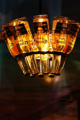 corona chandelier - great for the man cave!