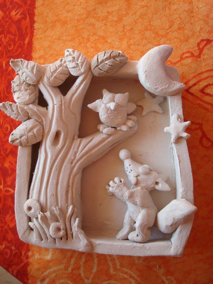 phase modelage En vente sur mon site ALM: http://www.alittlemarket.com/decorations-murales/fr_cadre_en_relief_ceramique_renard_et_hibou_-12086657.html