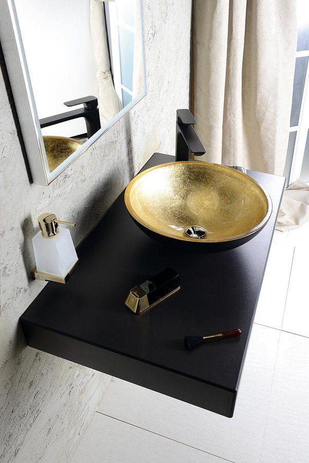 MURANO BLACK-GOLD skleněné umyvadlo kulaté 40x14 cm, zlatá a černá, SAPHO E-shop