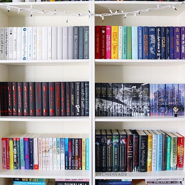 happy #shelfiesunday ✨ this is kind of an organized mess  also, half of my books are naked, I know BUT don't worry, their dust jackets are on the very bottom shelf  let me know if you see any of your faves  #fallthebooks