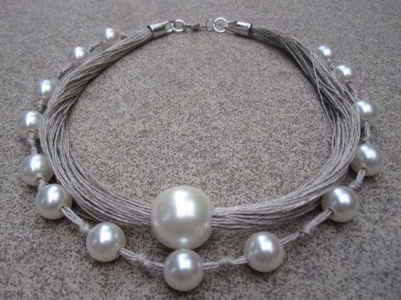 Natural Linen Necklace fantasy pearls knots eco metal by espurna88, €24.60