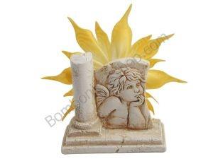 Graziosa bomboniera con l'Angelo di Raffaello in polvere di marmo di resina a rilievo... completa di coccarda portaconfetti!!!