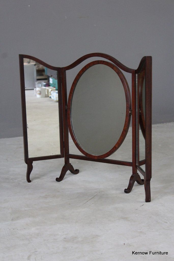 Antique Mahogany Dressing Table Mirror Edwardian Triptych With Oval Swing