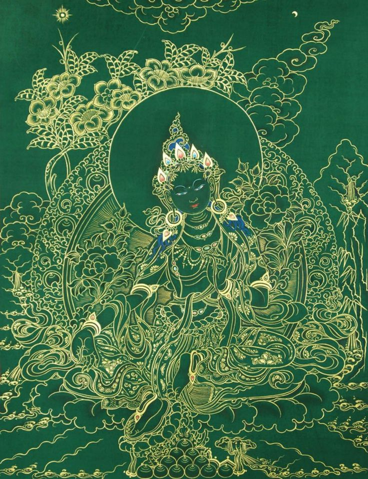"Green Tara the Bodhisattva of compassionate action who manifests in female form. Tara's name is said to derive from the verb meaning ""to cross"" or ""to traverse"". In Tibetan Tara is Drolma which means ""She Who Saves""."