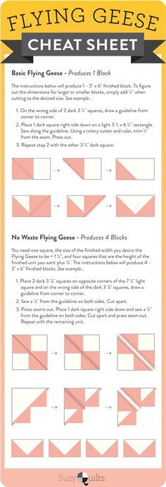 Check out this flying geese quilt block cheat sheet! single flying geese and 4 at a time flying geese infographic