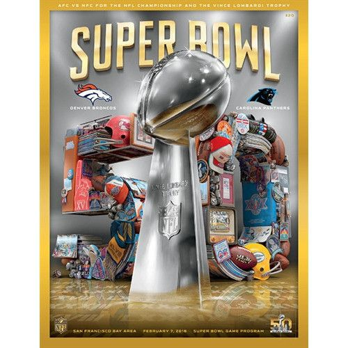 Super Bowl 50 HOLOGRAPHIC Broncos vs Panthers Program- Stadium Version