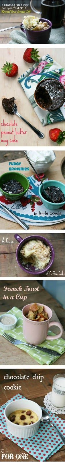 "Top 5 ""In a Mug"" recipes of all time! Dessert in just a couple of minutes. Click this link for recipes: http://www.cheaprecipeblog.com/2013/06/top-5-in-a-mug-recipes/"