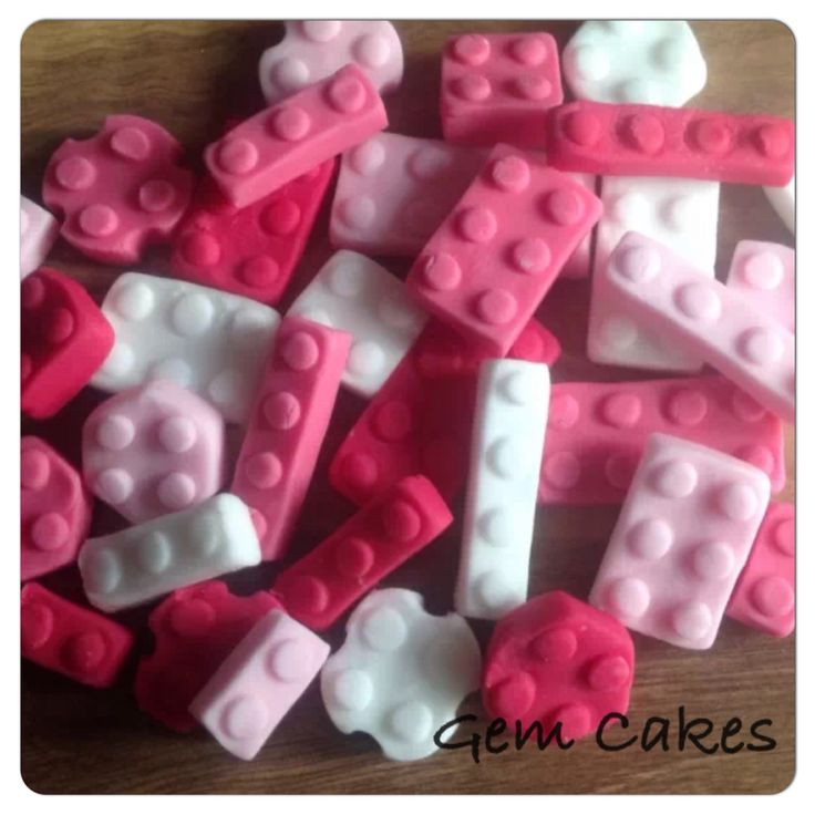 Edible baby Shower christening Pink Lego building bricks cupcake toppers decorations for Girls