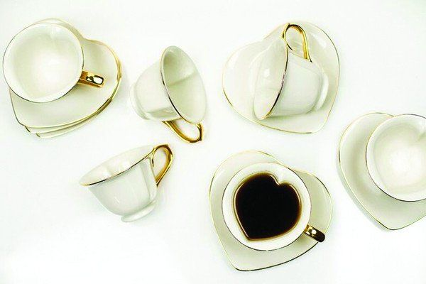 Yedi Inside Out Heart Cup and Saucer Set Cream set of 6