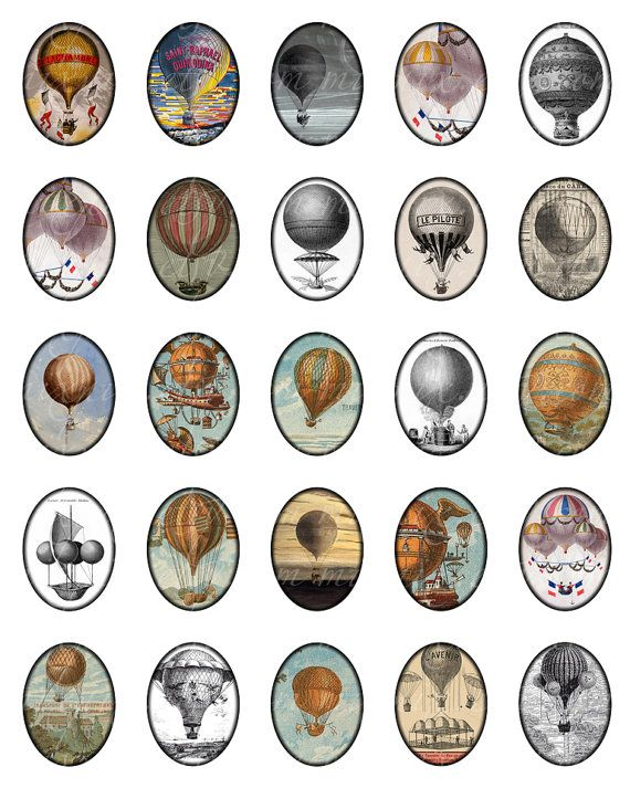 hot air balloons 3x4 cm 30x40 mm oval images Printable by 300dpi