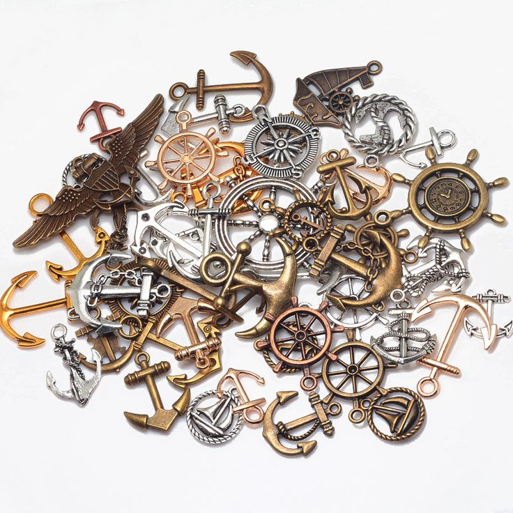 Vintage Metal Zinc Alloy Mixed Nautical Anchor and Rudder Pendant Charms For Jewelry Pendant Making Wholesale 50pcs/lot 8052
