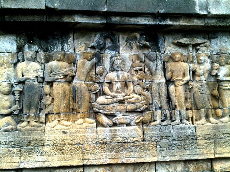 The relief on the wall of Borobudur Temple...