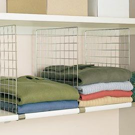 Shelf dividers keep stacks neat so theres room for more.