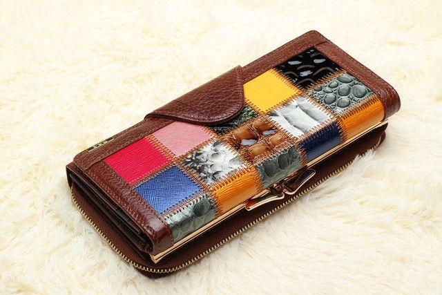 Fashion famous designer women's Wallets Coin Purse made of Genuine Leather Trifold Female Wallets Organizer Clutches cell Phone